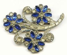 "Vtg 1930s Large 3-1/8"" Floral Rhinestone Blue Flowers Pot Metal Brooch Pin  $16.95"