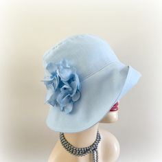 Pale Blue Linen Cloche Hat Summer Hat Downton Abbey Hat Cool Linen Hat The Eleanor Hydrangea Flowers Women's Couture Hat The Eleanor Handmade in the USA