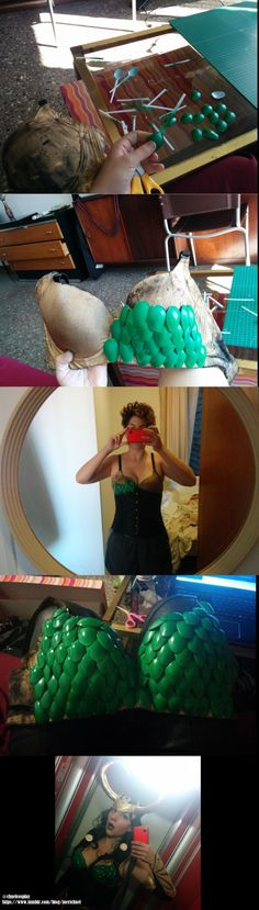 """HOW to make a """"scale armor"""" prop, in this case, bra: 1) paint plastic spoons, lots of them (this bra had around 90 of them as a reference, but they were the coffee/tea ones) *probably you want to use..."""
