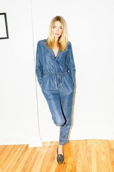 Martha Hunt Is Fall-Ready In A Chambray Jumpsuit