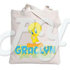 682f11f6fa Tweety Bird Personalized Tote Bag Personalized Tote Bags