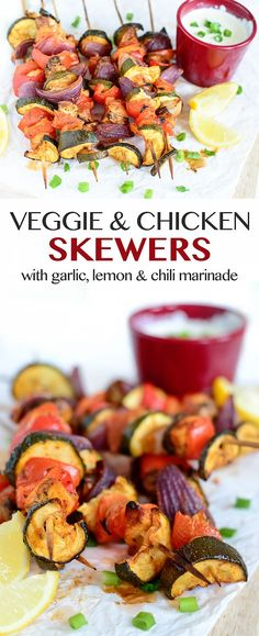Peppers, tomatoes, onions and mushrooms add colour to the healthy Chicken and Veggie Skewers