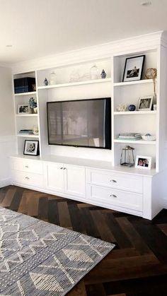 Built In Wall Units, Built In Shelves Living Room, Living Room Wall Units, Living Room Designs, Wall Cabinets Living Room, Tv Wall Shelves, Tv Built In, Wall Tv, Bookshelves
