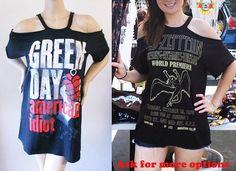 Items similar to Aerosmith band T shirts dress or top S-XL off the shoulder band tee walk this way on Etsy T Shirt Remake, T Shirt Diy, Green Day T Shirt, Cut Shirts, Cutting Shirts, Shoulder Shirts, Diy Clothing, Band Tees, Diy Fashion