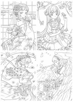 Fairy Coloring, Cute Coloring Pages, Adult Coloring Pages, Coloring Books, Lineart Anime, Flower Drawing Tutorials, Book Flowers, Drawing Sketches, Drawings
