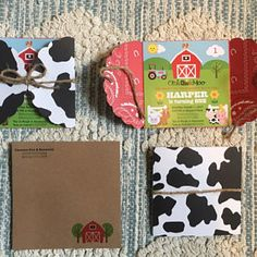 Items similar to Farm Invitation / Barnyard Birthday Invitations / Personalized Cowboy Cowgirl Party Invitations / Cow Print Red Bandana Farm Animal Invites on Etsy Cowgirl Party, Cowgirl Birthday, Cowboy And Cowgirl, Farm Animal Birthday, Farm Birthday, 3rd Birthday Parties, 1st Birthdays, Birthday Bash, Birthday Ideas