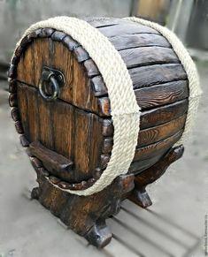 Wine Barrel Crafts, Wine Barrel Bar, Whiskey Barrel Furniture, Wood Chest, Wine Decor, Tuscan Decorating, Wood Creations, Old Doors, Wood Glass