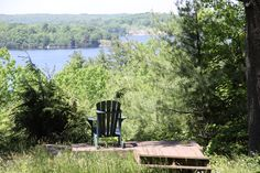 Muskoka chair on bluff over looking South Channel, Parry Sound