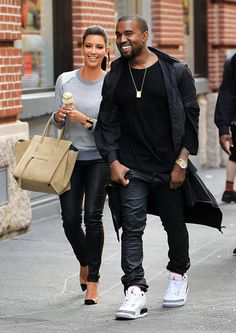 Kim Kardashian & Kanye West from Stars Scream for Ice Cream  The cute couple is spotted shopping with ice cream in hand while in New York City.