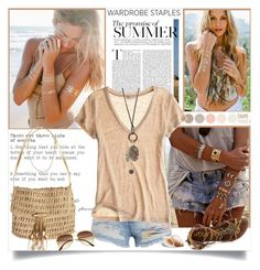 """Summer Wardrobe Staples"" by annabu ❤ liked on Polyvore featuring Lulu DK, Flash Tattoos, Sam Edelman, Skemo, H&M, Calypso St. Barth, With Love From CA, Summer and WardrobeStaples"