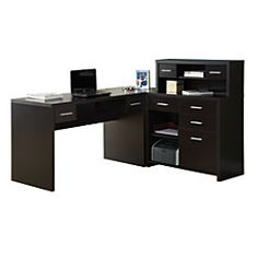 "Monarch L-Shaped Home Office Desk, 30 3/4""H x 47 1/4""W x 23 3/4""D, Cappuccino | Office Depot"