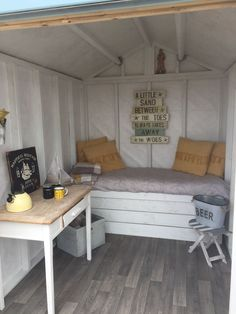 Shed decor. She shed. Vacation home. Playhouse Interior, Shed Interior, Cubby Houses, Play Houses, Shed Hangout Ideas, Shed Bedroom Ideas, She Shed Decorating Ideas, Kids Shed, Beach Hut Interior