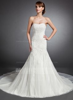 Trumpet/Mermaid Sweetheart Cathedral Train Tulle Wedding Dress With Ruffle Lace Beading (002015136) - JJsHouse