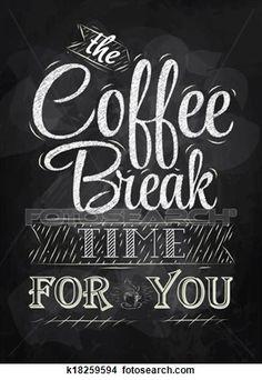 cartaz, lettering, hora café, giz Ampliar Ilustração