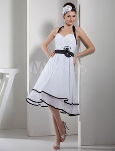 5701678f1ca Buy tea length prom dress sexy fashion Dresses chiffon dress party dress  bridesmaid dress for wedding halter dress simple cheap Hand made Dresses  Plus size ...
