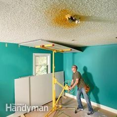 The perfect solution for an ugly ceiling. A drywall lift doesn't just make the job easier; it helps you do the job better. When you're raising sheets by hand, you're just dying to drive a few screws so you can put your arms down. With a lift, you can take your time, trim the sheet if necessary and get everything just right.