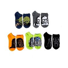 Star Wars Women's 5-Pack No Show Socks ($13) ❤ liked on Polyvore featuring intimates, hosiery, socks, star wars, multi colored socks, multicolor socks, colorful socks and multi color socks