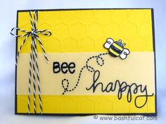 """""""Honeycomb"""" embossing folder makes a happy, bright yellow, bee card!"""