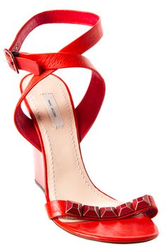 Marc Jacobs Red leather sandals with burnished distressed studs Wrap around ankle adjustable straps Buckle ankle closure Open toe design  Stacked platform heel Condition: Very Good. Measurements: Heels 3.5 Designer: Marc Jacobs
