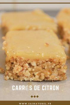 SaiNaturel - Carrés au citron et noisettes healthy, sans sucre, ni gluten, vegan, pattes crue de barres de céréales