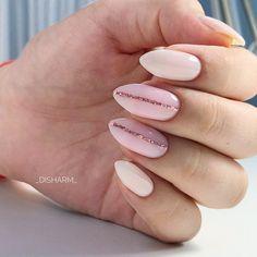 Elegant Almond Shape Gel Nails Designs With Glitter Stripes Almondnails Nudenails Stripenails