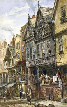 Louise Ingram Rayner (British watercolour artist) 1832 - 1924 Watergate Street, Chester, 1870-1910 signed 'Louise Rayner' (lower left) pencil and watercolour heightened with bodycolour on paper 13 3/8 x 8 ¼ in. (34 x 21 cm.) private collection  Catalogue Note Rayner lived in Chester from 1870 until 1910, and some of her most detailed and colourful watercolours depict the Cathedral and its environs. Watergate Street runs west, south of the Cathedral and at a right-angle to Bridge Street.