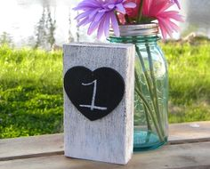 Wood Table Numbers with Chalkboard Rustic Woodland Wedding
