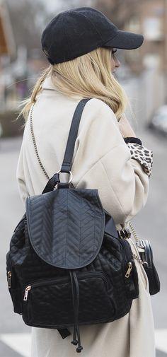 Lene Orvik is wearing black backpack from Bik Bok