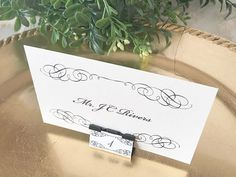 Decorate binder clips to use as cheap name card stands. Tie The Knot Wedding, Diy Wedding, Wedding Day, Wedding Reception, Wedding Flowers, Binder Clips, Name Place Cards, Name Cards, Wedding Place Settings