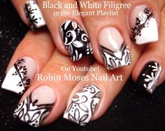 Black and white nails #nailart #nails #art #nail #design #elegant #blackandwhite #chevron #frenchmanicure #flowers #winter #wedding #trendy #diy #how #winternails