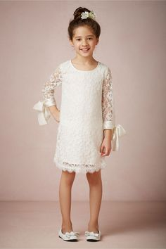 Simple yet lovely white lace #FlowerGirl dress with satin ribbons at the sleeves