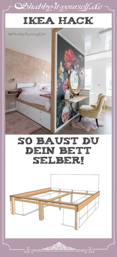 Instructions for my bedroom concept with DIY bed and room .- Anleitung zu meinem Schlafzimmerkonzept mit DIY Bett und Raumteiler Instructions for my bedroom concept with DIY bed and room divider -