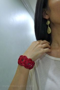 red braided leather cuff