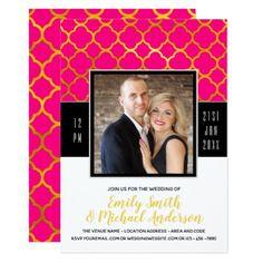 GOLD Elegance | PHOTO Wedding Quatrefoil HOT PINK Card - wedding invitations diy cyo special idea personalize card