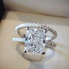 Nice Awesome 2CT Princess-Cut Diamond Solitaire Bridal set #solid 2 carat center diamond
