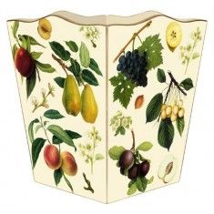 Fruit on Ivory Decoupage Wastebasket and Optional Tissue Box Cover; Well Appointed House