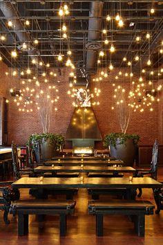 Hudson New York - A modern take on a beer garden and burger joint, Hudson Common serves craft brews. Restaurant Lighting, Restaurant Concept, Restaurant Bar, Cafe Lighting, Lighting Ideas, Brewery Design, Cafe Design, Restaurant Interior Design, Cafe Interior
