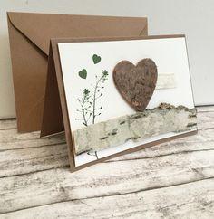 Hochzeitskarten - Hochzeitskarte mit Birkenrinde & Kraftpapier - ein…