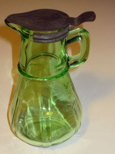 Vintage Kitchen Depression Glass Hazel Atlas Green Syrup Pitcher with Metal Lid