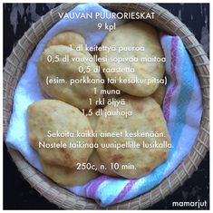 Simppeli sormiruokakeittiö: Vauvan puurorieskat Baby Puree Recipes, Baby Food Recipes, Cooking Recipes, Toddler Meals, Kids Meals, Fingerfood Baby, Baby Snacks, Baby Finger Foods, Kitchens
