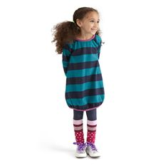 A play dress with a dash of detail is just right for girls who are always on the go. Bold stripes can't be beat.