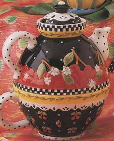 Mary Engelbreit Cherries   Mary Engelbreit Very Cherry Tea For One