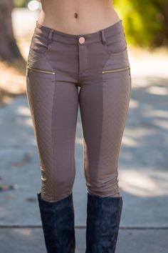 Quilted Leather Zipper Front Leggings (Mocha) - NanaMacs.com - 1