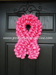 breast cancer awareness wreath think pink by poshcreationsky - Breast Cancer Decorations