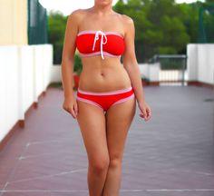 Large cup bikini Red swimwear Nautical bikini Red by AncyShop