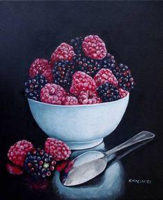 "Saatchi Art Artist Hanna Kaciniel; Painting, ""Summer Berries"" #art Artwork Online, Buy Art Online, Original Artwork, Original Paintings, Summer Berries, Painting Gallery, Artist Painting, Fruit, Saatchi Art"