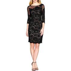 Aidan Mattox Lace Sheath Dress ($330) ❤ liked on Polyvore featuring dresses, black, kohl dresses, black floral print dress, flower print dress, black lace dress and lacy black dress