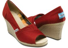 Red Canvas Women's Wedges $69