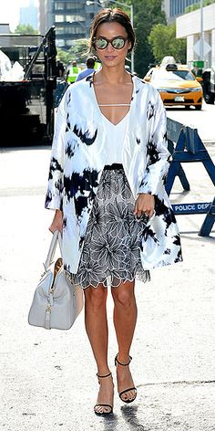 Welcome to AP Print Mixing. Your teacher is Jamie Chung and today she'll be discussing how the key to combining graphic and floral patterns (like this girlie skirt and her Kimono blazer) is sticking to no more than two color families, in this case, black and white. Study this look and you'll totally ace this class.