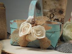 Romantic  Rustic Flower Girl Basket by AngisSouthernChic on Etsy, $24.95